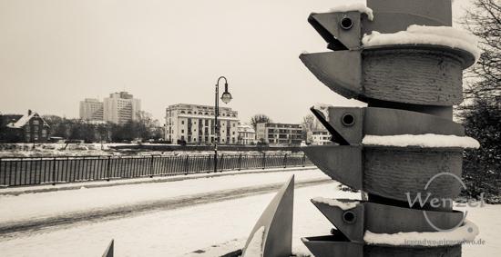 Winterspaziergang, Magdeburg, Elbufer, Promenade –  Foto Wenzel-Oschington.de