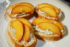 Nectarine Crostini with Bleu Cheese Walnut Spread