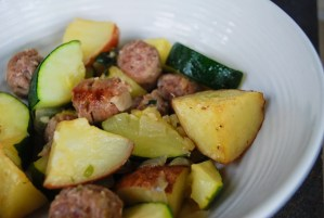 Italian Sausage with Potatoes and Zucchini