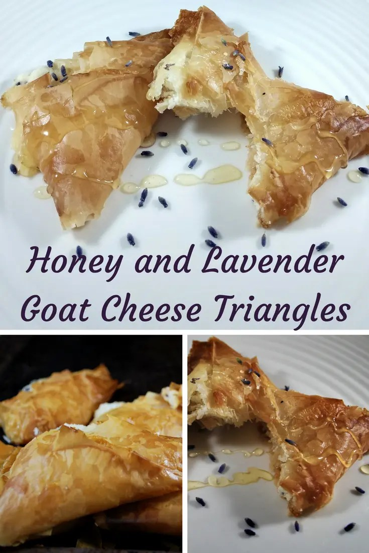 honey and lavender goat cheese triangle