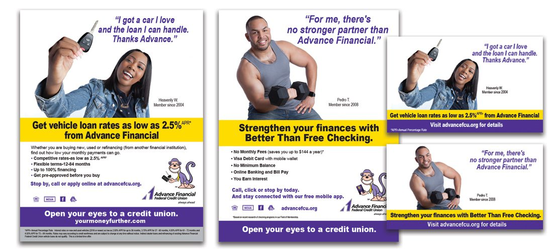 Ads for Advance Financial Credit Union