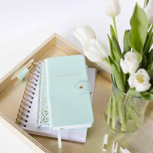 mint notebook white tulips