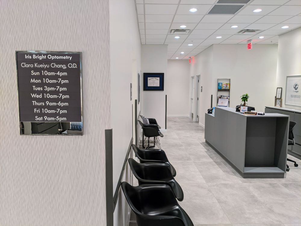 Clean and Spacious Waiting Area at Dr. Clara Chang's Office of Iris Bright Optometry