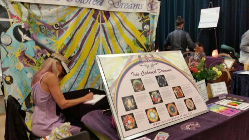 Silhouette at her booth at the Pathways to Transformation Holistic Health, Psychic, Arts and Crafts Faire, Yachats, Oregon
