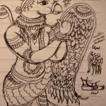 Shri Garuda from a Kalamkari painting