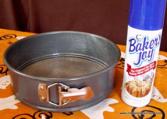 Greased cake pan with Baker's Joy