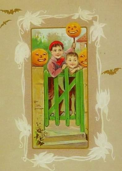 Irish Boys At Gate with Pumpkins