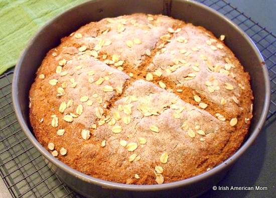 Irish brown soda bread fresh out of the oven