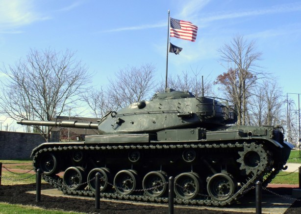 Tank with US flag