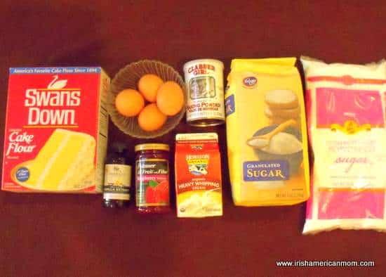 Ingredients for an Irish sponge cake