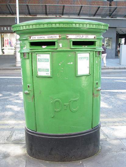 Green Irish Mailbox in Dublin