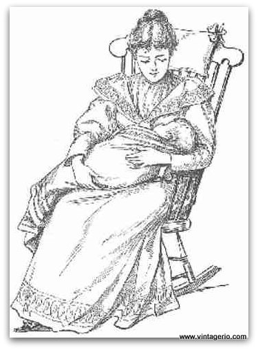 Vintage Clipart Mother With Child On A Rocking Chair