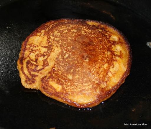 A flipped pumpkin pancake