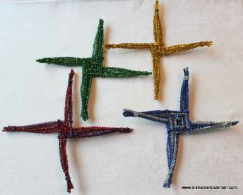 Glittery St. Brigid's Crosses