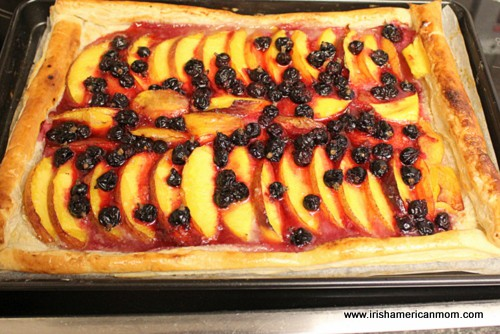 Baked nectarine and blackcurrant galette
