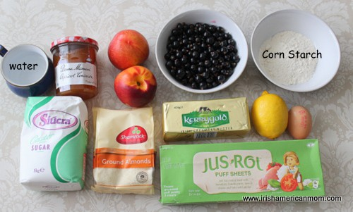 Ingredients for Nectarine and blackcurrant galette