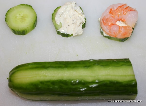 Steps for assembling shrimp and cucumber starter