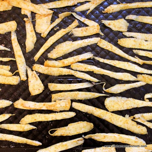 Parsnip chips on baking tray