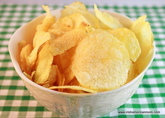 Bowl of cheese and onion Irish crisps or chips