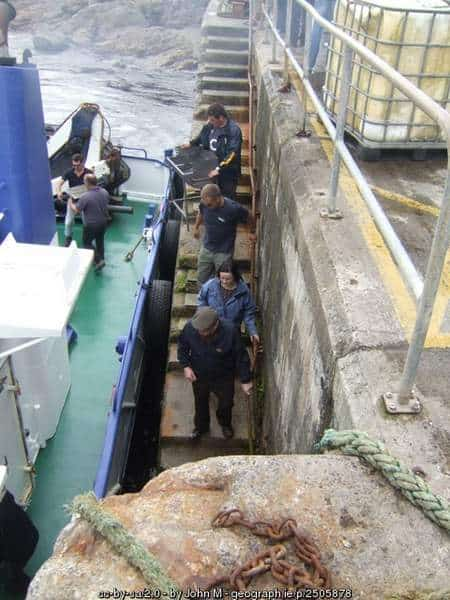 Loading a barbecue onto a ferry for Clare Island