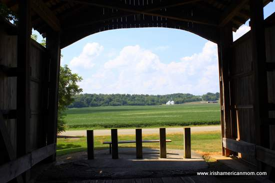 Corn fields as seen from inside a covered bridge