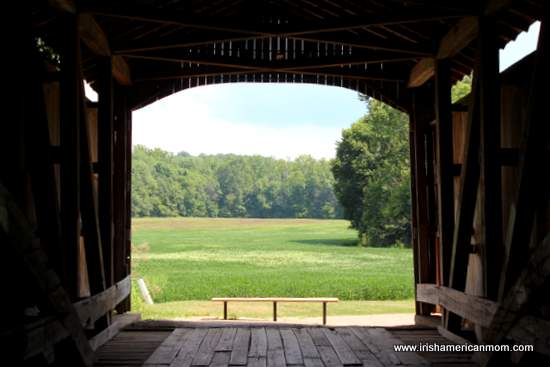 View from inside a covered bridge