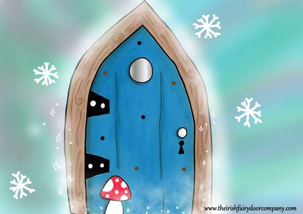 Blue fairy door with snowflakes the irish fairy door for The irish fairy door company facebook