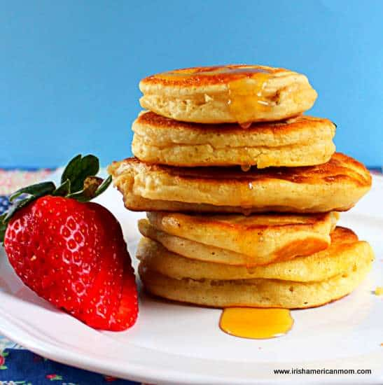 Buttermilk pancakes irish american mom silver dollar or small buttermilk pancakes with honey or syrup forumfinder Images