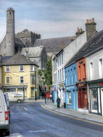 View of St. Canice's Cathedral from the streets of Kilkenny city