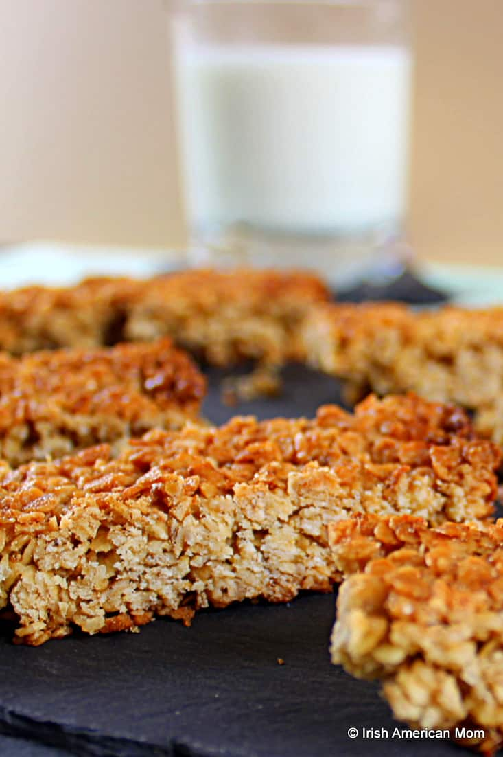 Irish oat flapjacks which are like granola bars in America - delicious with a glass of milk.