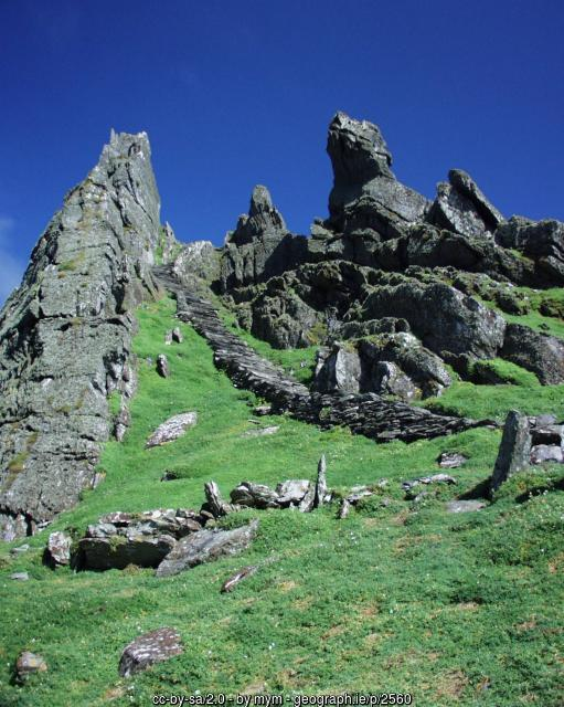 Rocky steps on the cliffs of Skellig Michael County Kerry Ireland