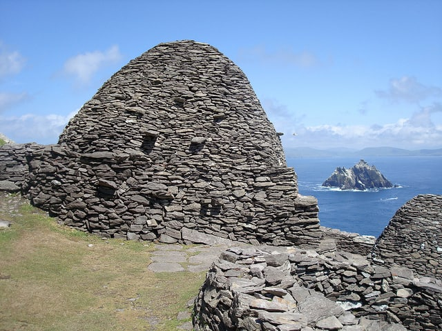 View from the Beehive huts on Skellig Michael looking towards the Little Skellig