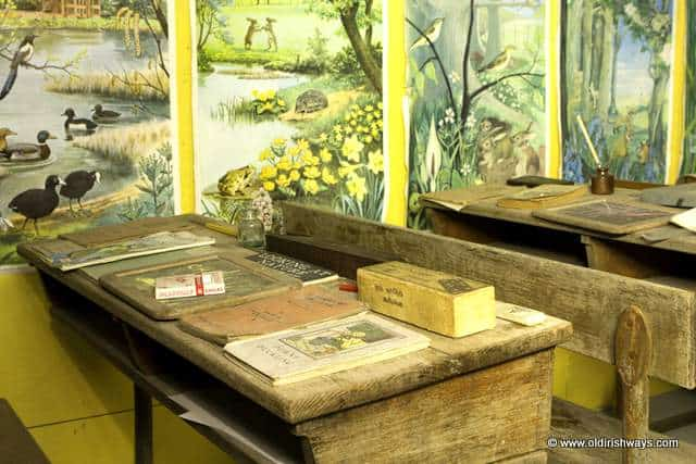 An old schooldesk in an Irish classroom from days gone by - Old Irish Ways Heritage Museum