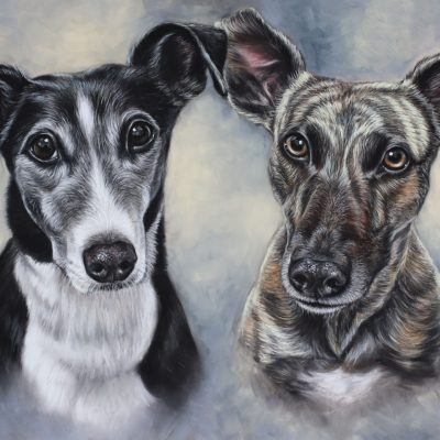 Jack and Rosie, Whippet Painting