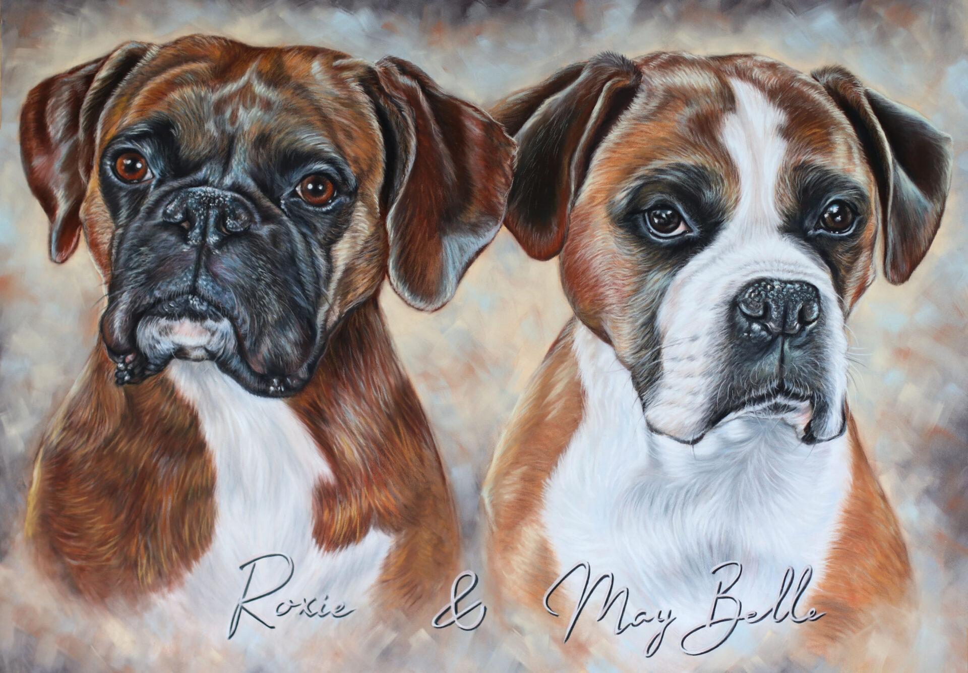 German boxers custom portrait painting uk