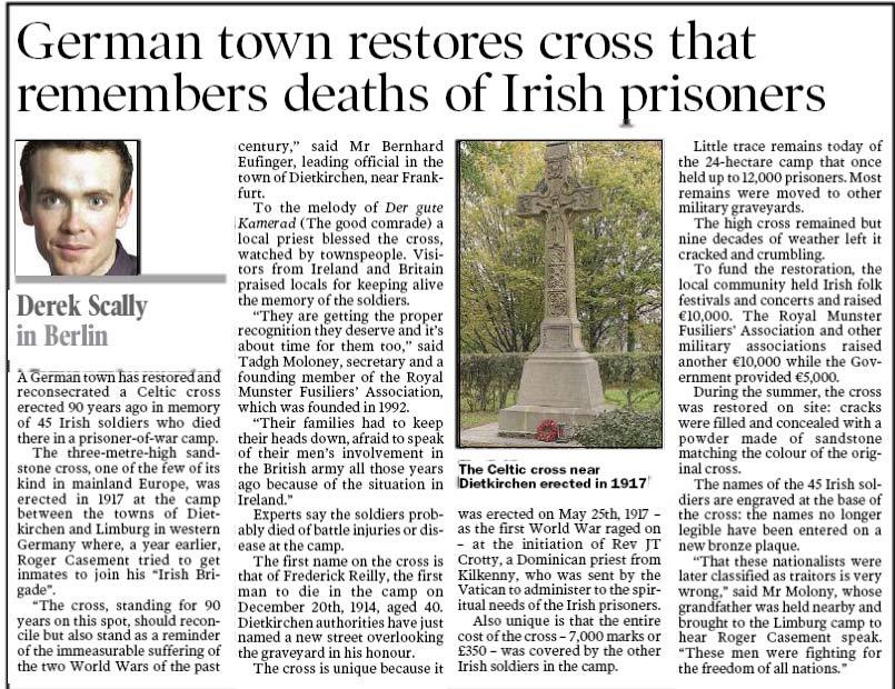 celtic cross commemorating Irish soldiers at Limburg