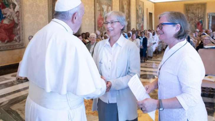 Pope commends nuns for 'standing on front line' against human trafficking