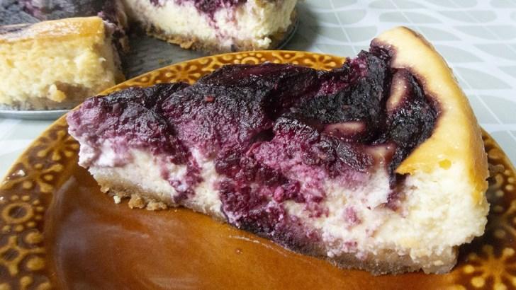 A decadent blackberry swirl cheesecake