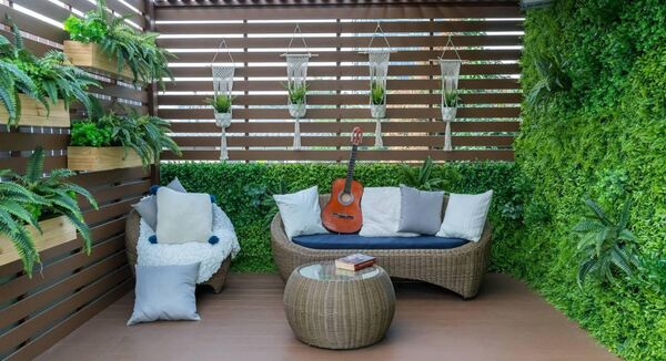 Additional recreation space created by garden seating.