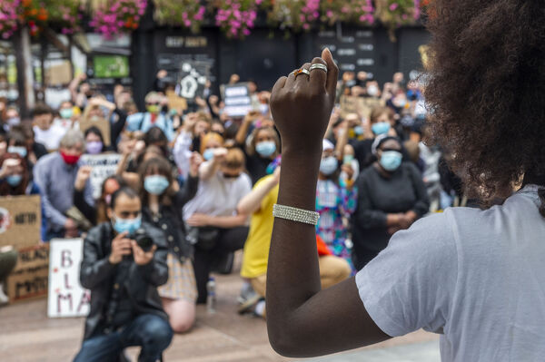 Between 1,000-1,500 people gathered on Grand Parade in Cork on June 8 under the Black Lives Matter banner to protest against the killing of the unarmed black man in America, George Floyd. The protesters held an 8 minute and 46 second protest – the length of time the police officer had his knee on George Floyd's neck. Picture: Andy Gibson