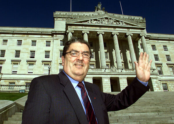 John Hume in front of the Stormont Building near Belfast.