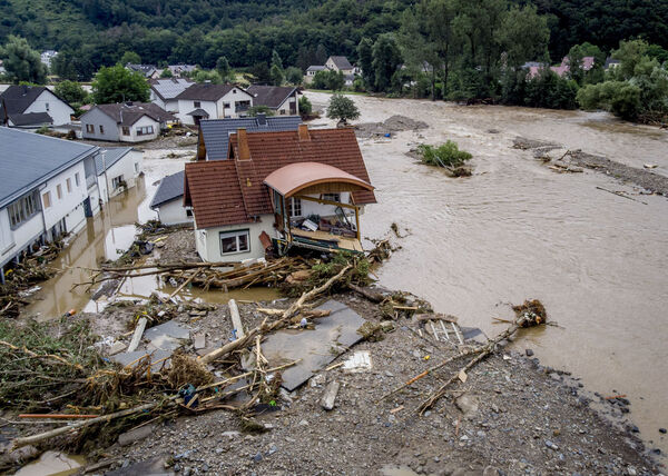 A damaged house is seen at the Ahr river in Insul, western Germany. Picture: AP Photo/Michael Probst