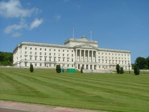 The Northern Irish parliament building at Stormont, East Belfast]