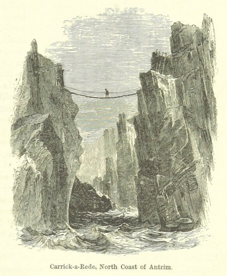 The Carrick-A-Rede rope bridge, Co. Antrim, Ireland. Still in existence (and open to visitors!) today. Illustration from 'The Two Hemispheres' by George Goudie Chisolm, 1885.