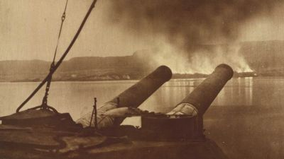 View from the British battleship HMS Cornwallis of the burning of British stores during the Allied withdrawal from Gallipoli. Public domain phtoto taken from http://en.wikipedia.org/wiki/File:View_of_British_stores_burning_during_evacuation_from_Gallipoli.jpg **And how many died in total?** It's hard