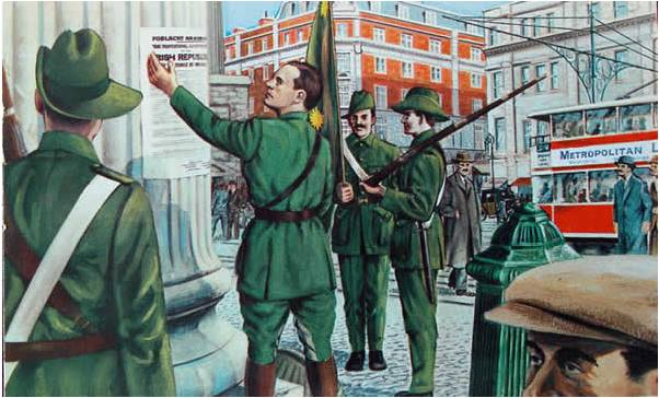 Patrick Pearse posts the 1916 Proclamation at the GPO.