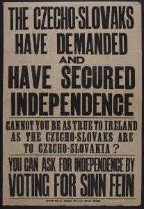 Sinn Fein election poster comparing Czechoslovakia and Ireland