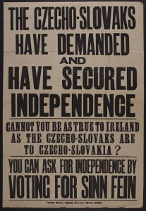 Sinn Fein election poster comparing Czechoslovakia and Ireland