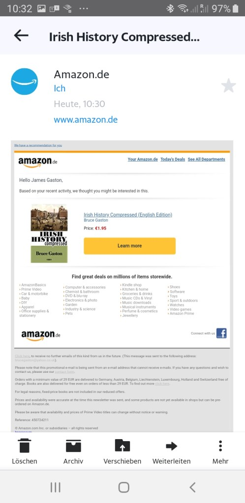 Amazon recommends Irish History Compressed