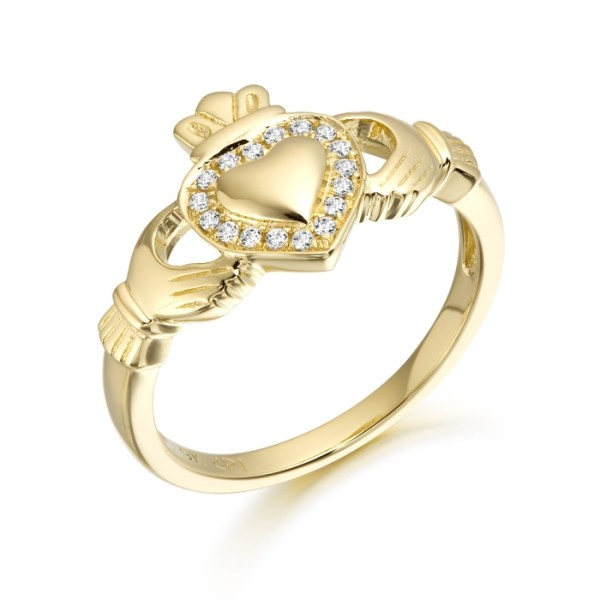 9ct Gold Ladies Gold Claddagh Ring studded with Cubic Zirconia -CL32